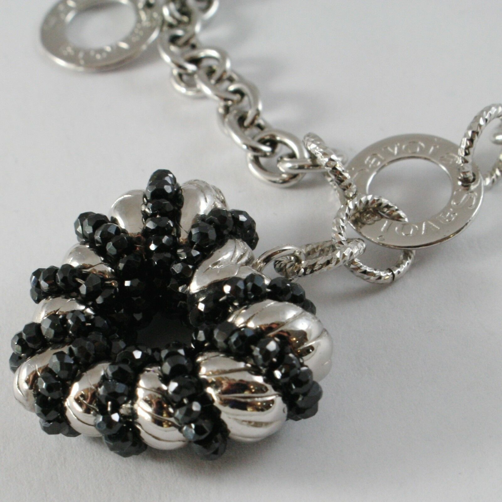 Bracelet Silver 925, Rolo ' with Heart Pendant Milled and Spinel Black, Circles