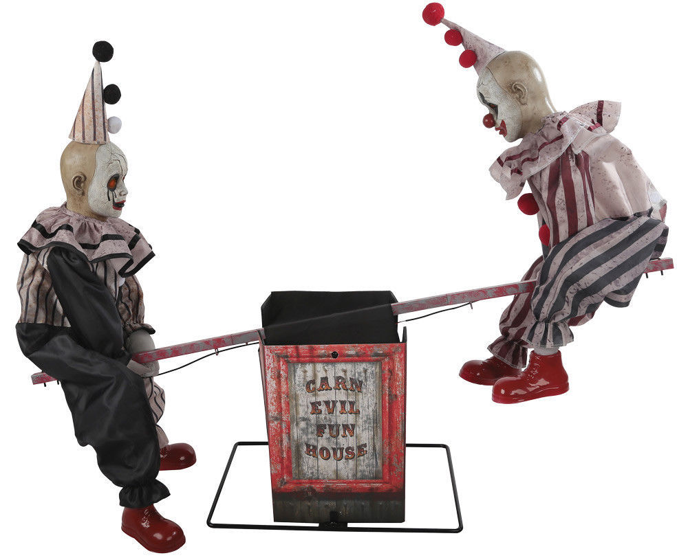 See Saw Clowns Animated Prop Halloween Haunted House Decoration NEW
