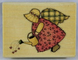 Uptown Rubber Stamps Wood Block Mounted ANGEL WITH WATERCAN Sandi Gore E... - $5.90