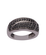 Cocktail Style 925 Sterling Silver Women Wedding Cluster Bar Ring Black ... - $36.33
