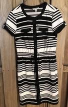 Dress Barn Womens Dress 4 Black White Striped Short Sleeve Knee Length C... - $91,84 MXN