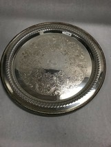 12 in. Round Silver plate WM Rogers 16 platter Vintage etch - $37.03