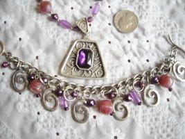 Vintage Necklace & Dangle Charm Bracelet Faux Stone & Pearl Purple Rhinestone image 4