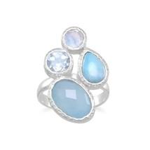.925 Sterling Silver Chalcedony, Larimar, Topaz Moonstone Cluster Women'... - $76.46