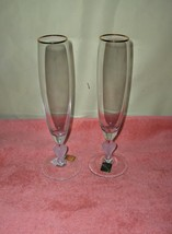 Pair Marquis Waterford Crystal Sweet Memories Champagne Wine Flutes MINT - $84.15