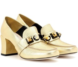 Fendi Fantazia Gold Leather Metallic Studs Loafer Pump 37.5 Shoes - $420.00