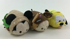 """Tsum Tsum Mickey Mouse Burger Doughnut Pluto Plush Stuffed Lot Mini 3"""" D... - $18.76"""