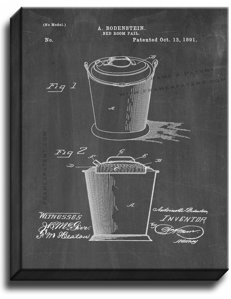 Primary image for Bedroom Pail Patent Print Chalkboard on Canvas