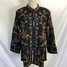 COLDWATER CREEK Black Wool All Over Embroidered Jacket Medium NEW $139 F... - $49.99