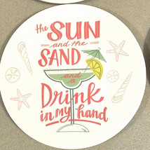 "Melamine Tidbit Appetizer Dessert Plates 6"" Set of 4 Beach House Margari... - $15.72"