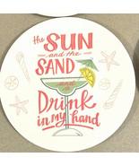 """Melamine Tidbit Appetizer Dessert Plates 6"""" Set of 4 Beach House Margari... - $15.72"""