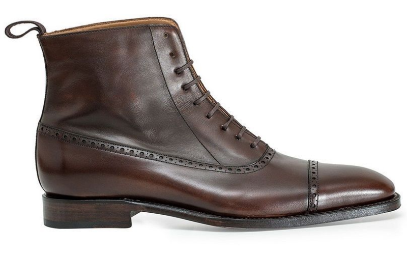 Men Two Tone High Ankle Laceup Handmade Rounded Plain Toe Genuine Leather Boots image 2
