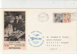 United States 1961 1st Flight Boeing707 Jet NY-Cologne-Munich Stamps Cov... - $7.10