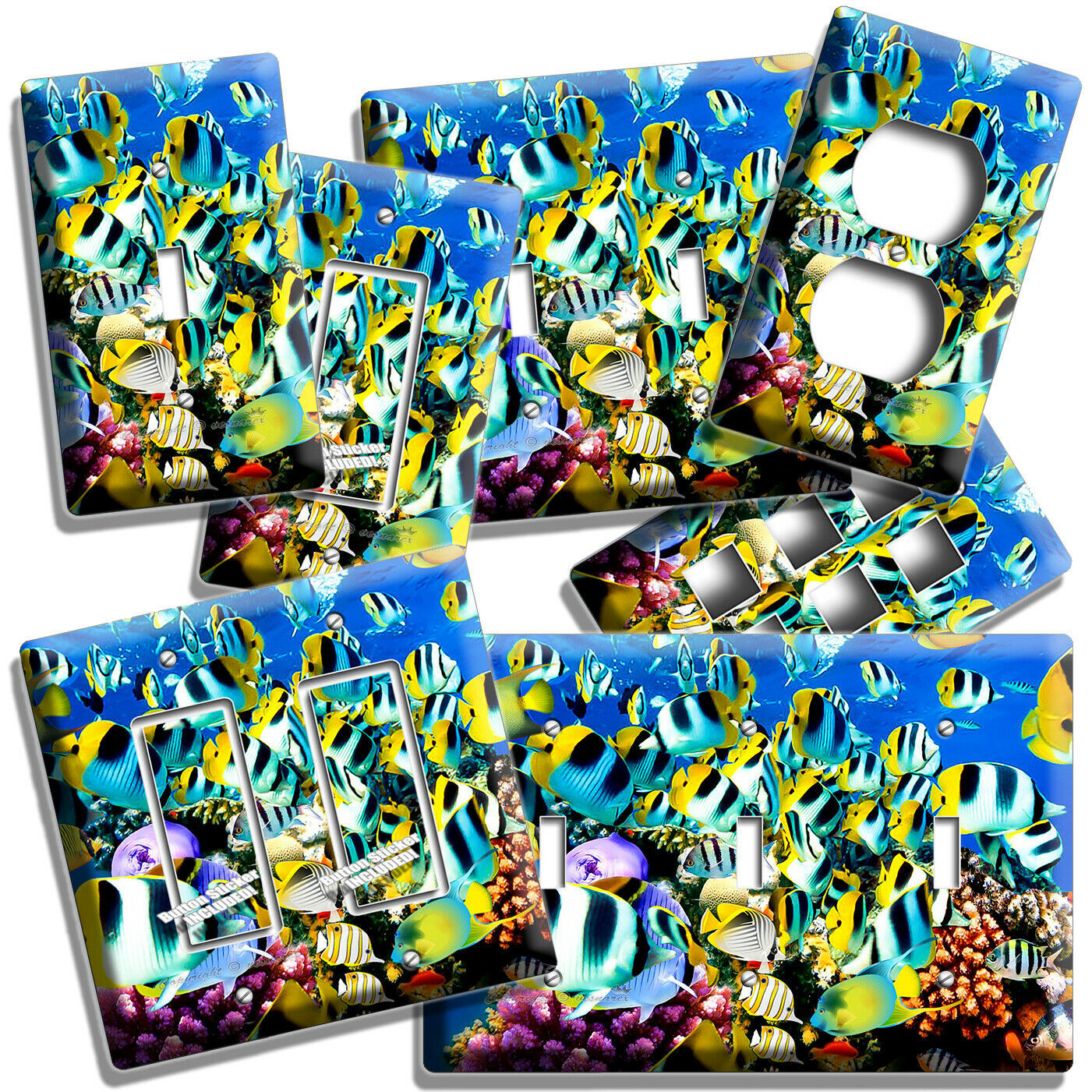 TROPICAL OCEAN CORAL REEF FISH LIGHTSWITCH OUTLET WALL PLATE ROOM AQUARIUM DECOR