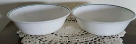 Vintage Corelle By Corning ~ White w/Blue Stripe Rim ~ Set of 2 Cereal Bowls - $20.59