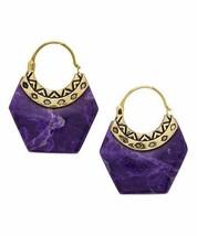 Barse Howlite & Goldtone Geometric Hoop Earrings One-Size PURPLE/GOLD NEW - $39.58