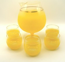 Blendo MCM Snifter Cocktail Pitcher with 5 Roly Poly Glasses Lemon Yello... - $42.00