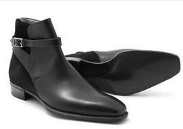 Handmade mens black ankle leather boots, Men suede and leather jodhpurs ... - $179.99