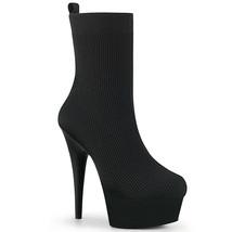 "PLEASER 6"" Heel Black Pull On Black Stretch Sock Like Women Platform Ank... - $97.95"