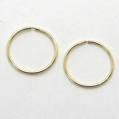 18K YELLOW GOLD ROUND CIRCLE HOOP EARRINGS DIAMETER 15 MM x 1 MM, MADE IN ITALY