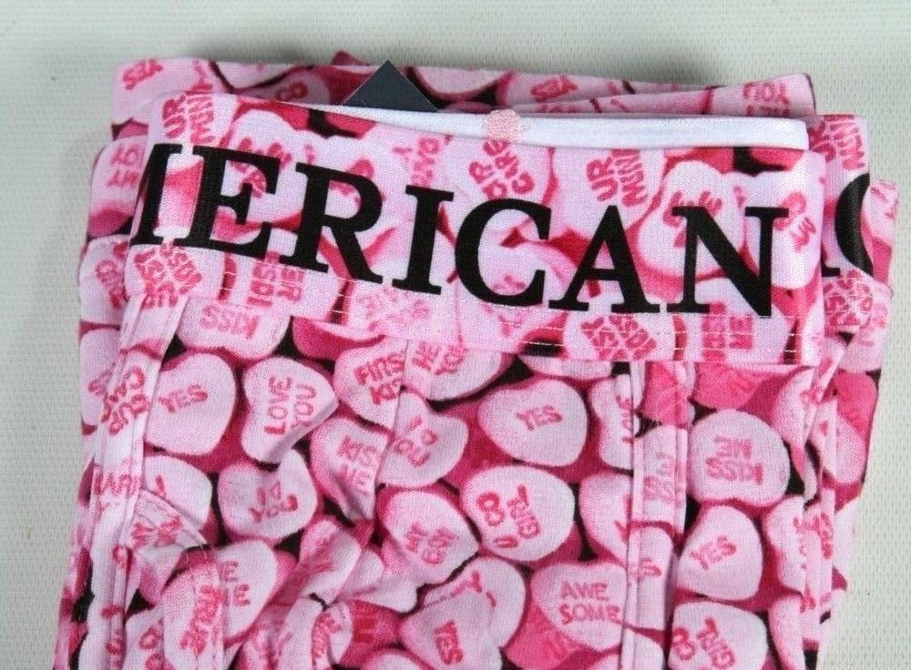 New American Eagle Pink Candy Hearts Boxer Brief Regular Length Size Small 29-31