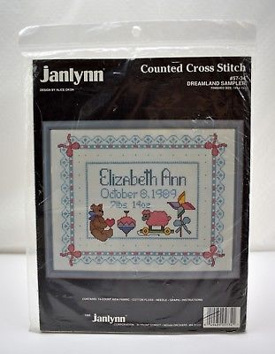 "Primary image for Janlynn ""Dreamland Sampler"" Birth Record Counted Cross Stitch Kit #57-34"