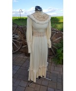 Vintage 70's/80's gown does Victorian ivory w lace maxi lace girls women... - $45.00