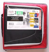 "NEW Five Star Zipper Binder + Tech Pocket, 2"", Red Black, 12-3/4"" x 12"" NWT"