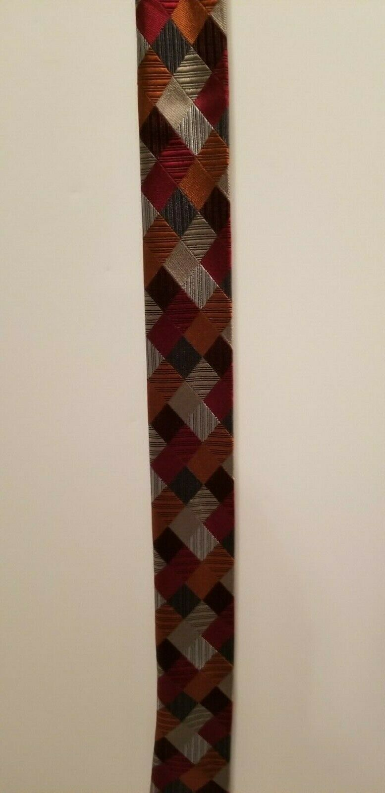 Sexy Geoffrey Beene 100% Silk Red Blue Silver Patchwork Diamonds Tie Necktie image 8