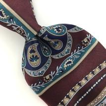 VINTAGE ZYLOS GEORGE MACHADO Tie US MADE PAISLEYS Maroon Silk Necktie Ti... - $15.83