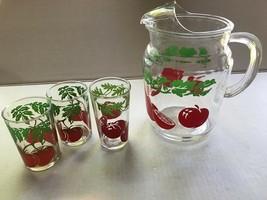 Hazel Atlas Tomato Juice Pitcher & 3 Juice Glasses - $15.99
