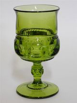 "Indiana ~ King's Crown Thumb Print ~ Green Glass 5 3/4"" Goblet - $17.95"