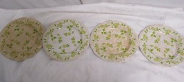 Nikko Ironstone Lot of 4 Plates Yellow Flowers Green Leaves - $15.39