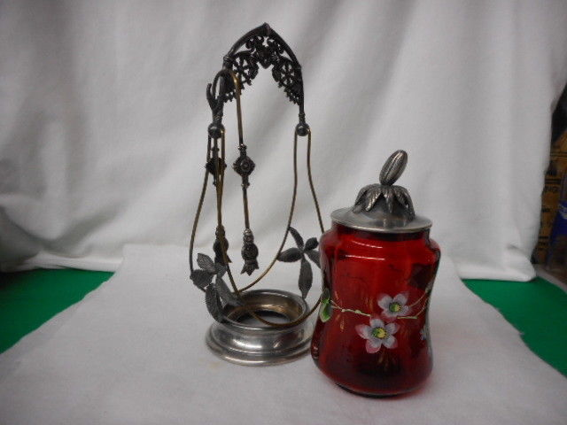 Antique Ruby Glass Handpainted Victorian Pickle Castor with Tongs