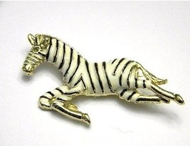 zebra pin yellow gold tone metal with white enamel  Vintage Brooch zoo a... - $14.99
