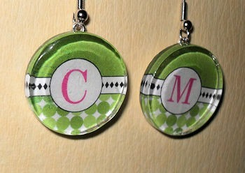 Choose your Initial Glass Tile Dangle Round Earrings