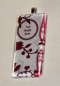 Live Love Laugh Glass Tile Necklace Pendant  with Cord