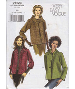 8123 Very Easy Vogue Misses Jacket Size 8-14 Pattern  NEW - $12.99