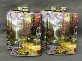 Set of 4 Fishing D9 Flasks 8oz Stainless Steel Drinking Whiskey - $26.68