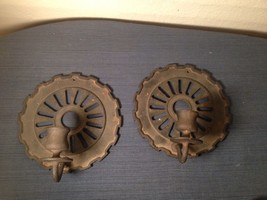 Candle Holder Wall Sconce Made From Cast Iron Corn Seed Planter Disc Pla... - $60.31
