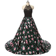 Beading Printed Flower Halter Backless Prom Dresses Evening Party Gown for Women - $142.99