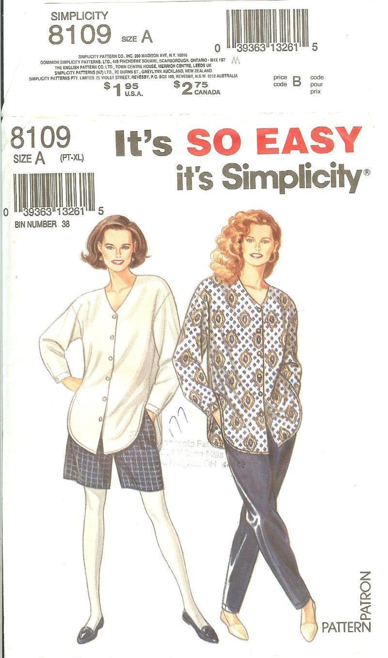73fbc7a34e3d Simplicity 8109 Misses  Pants or Shorts   Loose-Fitting Shirt Size Xs-XL  (6-24) -  9.47