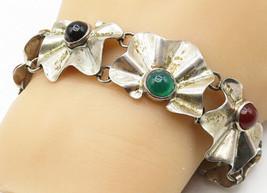 MEXICO 925 Silver - Vintage Black Onyx & Carnelian Floral Chain Bracelet... - $77.73