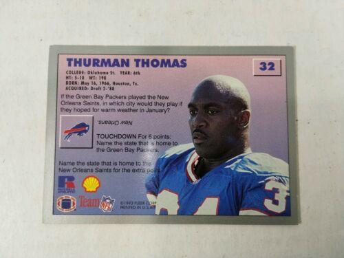 1993 Fleer Football Card #229 Thurman Thomas Buffalo Bills