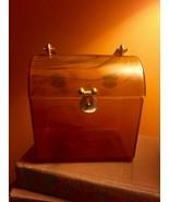 Vintage brown swirl mini handbag hard case unique handbag Bakelite? handle - $59.39
