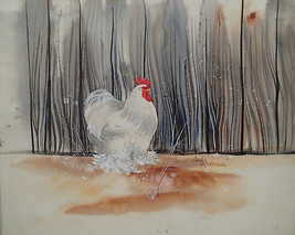 Judy Matthews original watercolor  White Rooster in barnyard with fence - $29.69
