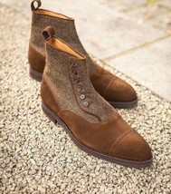 Handmade Men's Brown Suede And Tweed Two Tone Buttons Boots image 2