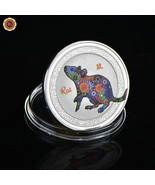 WR Chinese Zodiac Silver Colorized Coin Year of the Rat Birthday Gift Fo... - $4.39