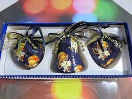 Angel Magic Dark Blue Decoupage Ornaments Heart Bell Ball Set Of 3 IOB - $10.88