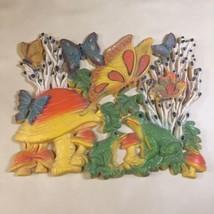 Vtg HOMCO Wall Art Picture Mushrooms Frogs Butterflies Retro 70s Orange ... - $19.79